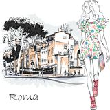 Cute fashion girl in Rome, Italy. Cute beautiful fashion girl in summer dress on typical Roman street with Stone pine trees in the old city in Rome, Italy Royalty Free Stock Images