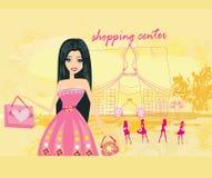 Cute fashion girl on a shopping center. Illustration vector illustration