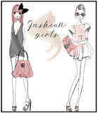 Cute fashion girls. Cute fashion cartoon girls in sketchy style Stock Photography