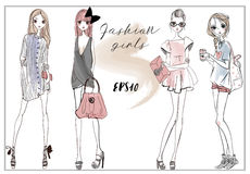 Cute fashion girls. Cute fashion cartoon girls in sketchy style Royalty Free Stock Images
