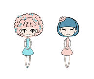 Cute fashion girls. Hand drawn vector illustration of two kawaii little trendy girls with different hairstyles  dressed in lovely dresses. Isolated objects on Royalty Free Stock Photo