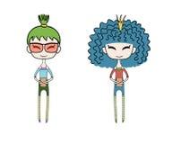 Cute fashion girls royalty free illustration