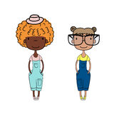 Cute fashion girls. Hand drawn vector illustration of two cute little trendy girls with different hairstyles, skin colors, dressed in denim overalls. Isolated Stock Photo