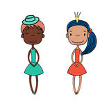 Cute fashion girls. Hand drawn vector illustration of two cute little trendy girls with different hairstyles, skin colors, dressed in lovely dresses. Isolated Stock Photos