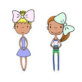 Cute fashion girls. Hand drawn vector illustration of two cute trendy girls with different hair, in lovely dress, t-shirt, leggings, shorts, holding a book Stock Photos
