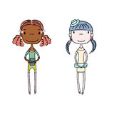 Cute fashion girls. Hand drawn vector illustration of two cute trendy girls with different hair, skin colors, in a dress with a clutch, t-shirt and shorts Royalty Free Stock Photography