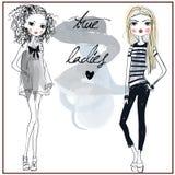 Cute fashion girls. Two cute cartoon fashion girls stock illustration