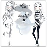 Cute fashion girls. Two cute cartoon fashion girls royalty free illustration