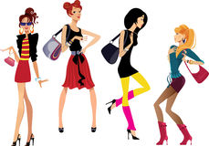 Cute fashion girls. Vector illustration of cute fashion girls Stock Photo