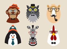 Cute fashion Hipster Animals pets, set of vector. Illustrated pictures on the theme of animals fashionable hipsters Royalty Free Stock Photos