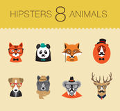 Cute fashion Hipster Animals set 1 of vector icons. Cute fashion Hipster Animals icons Stock Photos