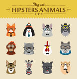 Cute fashion Hipster Animals  of vector icons Royalty Free Stock Photos