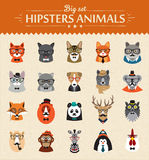 Cute fashion Hipster Animals  of vector icons Stock Photo