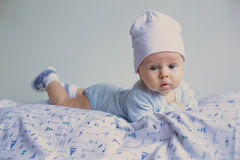 Cute fashion hipster baby in hat Royalty Free Stock Photo