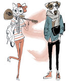 Cute fashion hipster dog and cat