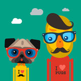 Cute fashion Hipster man and pug dog pet Royalty Free Stock Photos