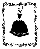 Party Dress Hanging in a Frame of Ribbons and Bows Royalty Free Stock Photo