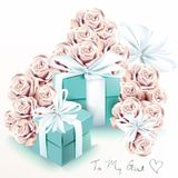 Cute fashion illustration with rose flowers and blue gift boxes. Royalty Free Stock Photos