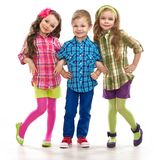 Cute fashion kids are standing together Stock Photo