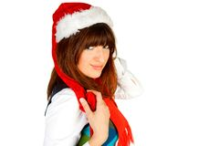 Cute fashion model posing as santa Royalty Free Stock Photography