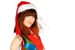 Cute fashion model posing as santa Stock Images