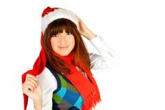 Cute fashion model posing as santa Royalty Free Stock Photography