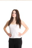 Cute fashion model in white shirt Royalty Free Stock Photo