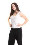 Cute fashion model in white shirt Stock Image