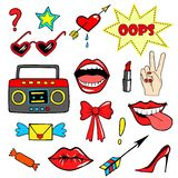 Cute fashion patch badges with lips, hand,tape recorder, shoes, glasses, heart and other elements. Trendy, modern design. Set of doodle stickers, pins, in Stock Image