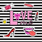 Cute fashion patch badges with lips, shoes, crown, mouth, candy, envelope, lipstick. Royalty Free Stock Photo