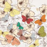 Cute fashion pattern with hand drawn butterflies and flowers Royalty Free Stock Images