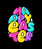 Cute fashion 80s style Happy Easter typography lettering. In egg shape for your decoration royalty free illustration
