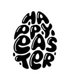Cute fashion 80s style Happy Easter typography lettering. In egg shape for your decoration Royalty Free Stock Images