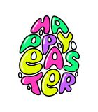 Cute fashion 80s style Happy Easter typography lettering. In egg shape for your decoration stock illustration