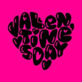 Cute fashion 80s style Happy Valentines Day typography. Lettering in heart shape for your decoration Stock Images