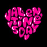 Cute fashion 80s style Happy Valentines Day typography. Lettering in heart shape for your decoration Stock Image