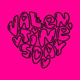 Cute fashion 80s style Happy Valentines Day typography. Lettering in heart shape for your decoration Stock Photo