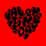 Cute fashion 80s style Happy Valentines Day typography lettering. In heart shape for your decoration Stock Photos