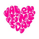 Cute fashion 80s style Happy Valentines Day typography lettering. In heart shape for your decoration Royalty Free Stock Image