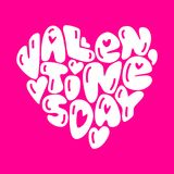 Cute fashion 80s style Happy Valentines Day typography lettering. In heart shape for your decoration Stock Image