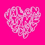Cute fashion 80s style Happy Valentines Day typography lettering. In heart shape for your decoration Royalty Free Stock Photography