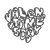 Cute fashion 80s style Happy Valentines Day typography lettering. In heart shape for your decoration Stock Photo