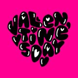 Cute fashion 80s style Happy Valentines Day typography. Lettering in heart shape for your decoration Royalty Free Stock Image