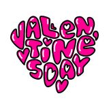 Cute fashion 80s style Happy Valentines Day typography lettering. In heart shape for your decoration Stock Images