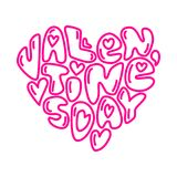 Cute fashion 80s style Happy Valentines Day typography lettering. In heart shape for your decoration Stock Photography