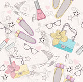 Cute fashion seamless pattern for girls stock illustration