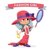 Cute fashion small girl clothing like mother Stock Photo