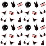 Cute fashion summer and holiday seamless pattern. With sun, camera and swimsuits in black and pink colors Stock Image