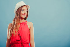 Cute fashion woman in hat and red shirt. Portrait. Stock Photos