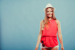 Cute fashion woman in hat and red shirt. Portrait. Royalty Free Stock Photo